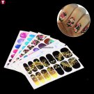 6 Sheets Full Cover Starry Sky  Flower Nail Art Polish Stickers Manicure Decals  arrive