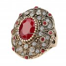 Fashion Vintage Jewelry Rings Unique Plated Ancient Gold Mosaic AAA Crystal Big Oval Ring For Women