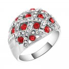 Kinel Vintage Jewelry Engagement Rings For Women Silver Plated Retro Look Big Oval Red Austrian Cry