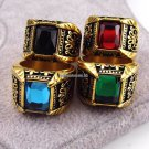 Brand Jewelry Vintage Antique Gold Color Crystal Ring For Men Stainless Steel Big Square Stone Fing