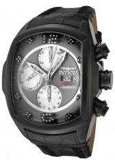Invicta Men's Lupah Automatic Chronograph Diamond Black Leather