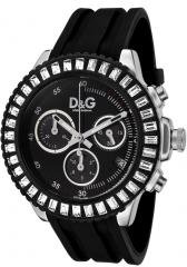 Dolce & Gabbana Women's Madame Chronograph White Crystal Black Dial Black Rubber