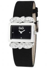 Dolce & Gabbana Women's White Crystal Black Dial Black Grosgrain