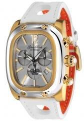 Glam Rock Gulfstream Chronograph Silver Dial White/Orange Nappa Leather