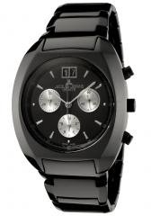 JACQUES LEMANS Men's Geneve/Terra Chronograph Black Ceramic
