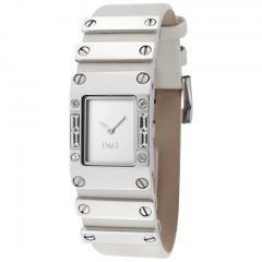 Dolce & Gabbana Women's Kilt Silver Dial Light Beige Leather & Stainless Steel