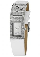 Dolce & Gabbana Women's White Crystal Silver Dial White Leather