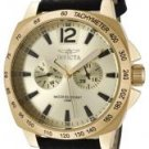 Invicta Men's II Gold Dial Black Leather