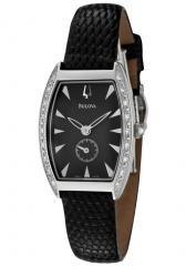 Bulova Women's Swiss Made Diamond Black Leather