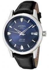 Rotary Men's Les Originales Navy Blue Dial Black Leather