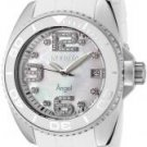 Invicta Women's Angel White Crystal Mother of Pearl Dial Dark Grey Rubber