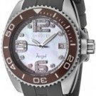Invicta Women's Angel White Mother Of Pearl Dial White Diamond Dark Grey Rubber