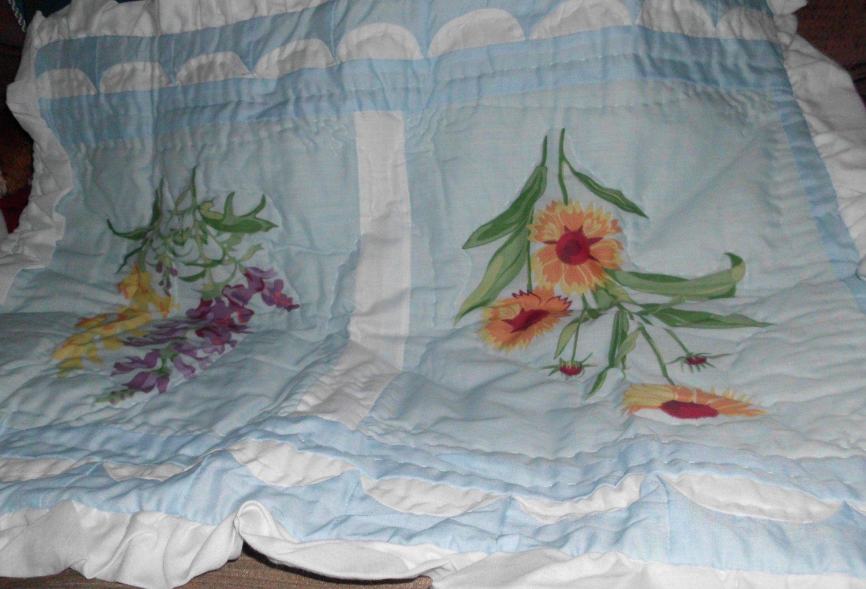 New 2 Beautiful Floral Print Shams