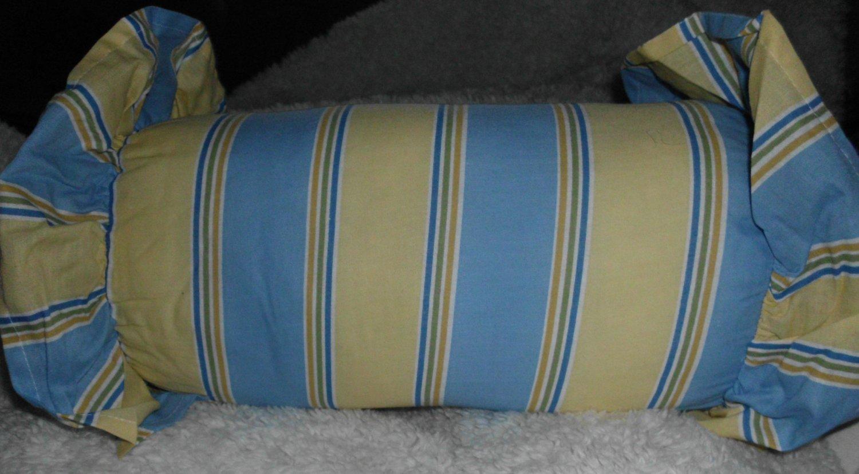 New Stripe NeckRoll Pillow W/Ruffled Edges