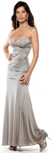 Gray Womens Strapless Evening Gown