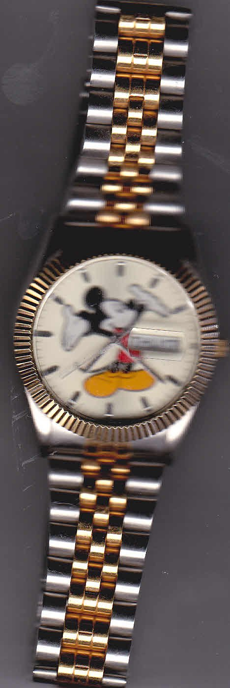 Men's Mickey Mouse Watch Day Time Two Tone Band MC0163
