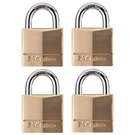 Padlock: Master Lock Model No. 140Q 1-9/16in (40mm) Wide Solid Brass Body Padlock; 4 Pack