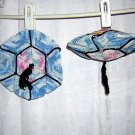 Pair of crocheted Japanese lantern potholders or hot pads perfect condition hc1005