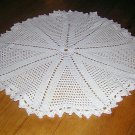 White crocheted doily pie wedges pattern filet stitch 14 inches vintage hc1007