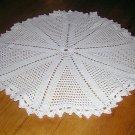White crocheted doily pie wedges pattern filet stitch 14 inches vintage hc1007