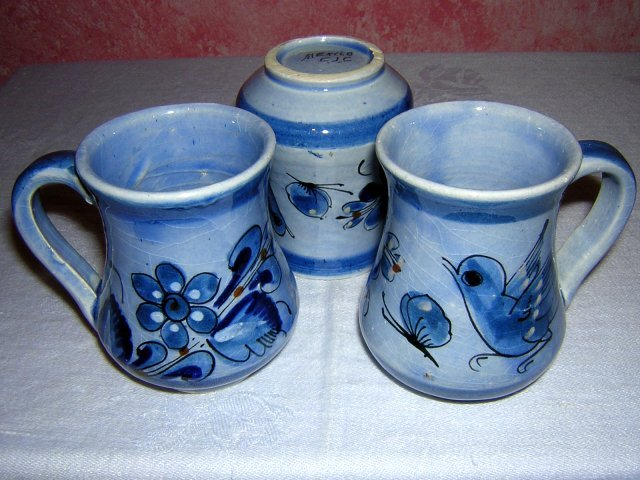 3 Signed Mexican mugs blue doves flowers perfect hc1013