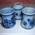 3 Signed Mexican mugs blue doves flowers perfect CJC Mexico hc1013