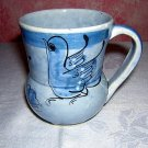 Mexican blue mug signed CJC dove, butterfly flower unused hc1014