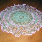 Pair green and flax crocheted doilies for Saint Patrick's Day star centers 12 inches hc1026