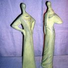 2 Elongated chalk figurines graceful ladies modern style hc1054