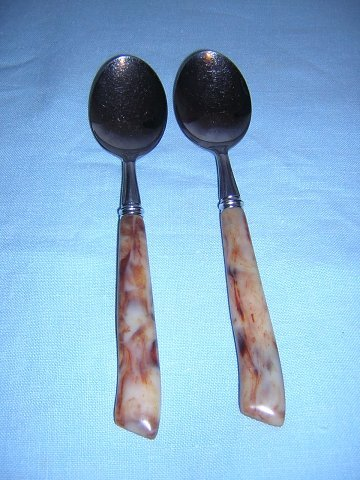 Stainless soupspoons marbelized faux Bakelite handles vintage flatware hc1058
