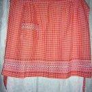 Embroidered gingham check half apron rickrack tangerine hc1069