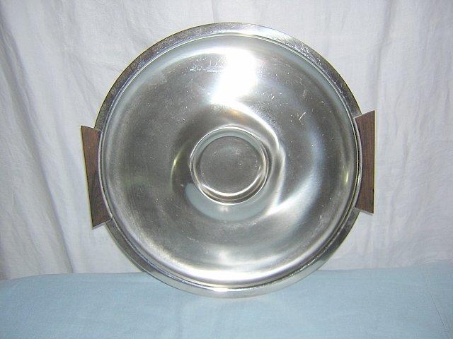 Lundhofte Denmark stainless steel round tray walnut handles Danish Modern hc1071