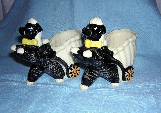 Pair of black poodles pulling basket carts made in Japan vintage planters or holders hc1080