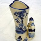 Delft blue Dutch girl boy heart shaped bud vase EH numbered hc1082