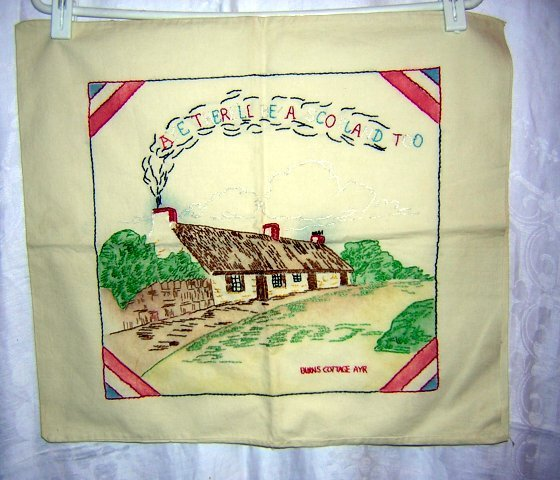 Burns cottage Ayr embroidered cushion cover vintage linens hc1089