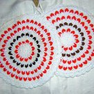 2 Crocheted potholders rick-rack lacing hangers unused vintage hc1105