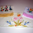 Linen lot 2 guest towels 1 pillowcase hand appliqued vintage hc1108