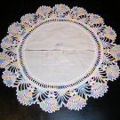 Embroidered crocheted cotton cover vintage linens hc1109