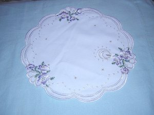 Christmas table mat embroidered Lurex thread lavender unused vintage linens  hc1129