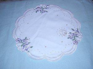 Christmas table mat embroidered Lurex thread lavender unused vintage linens  hc1129