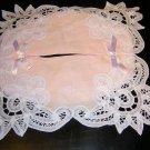 Battenburg tape lace pink tissue box cover unused vintage linens hc1149