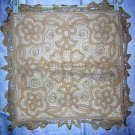Battenburg lace cushion cover beige cotton unused vintage linens hc1151