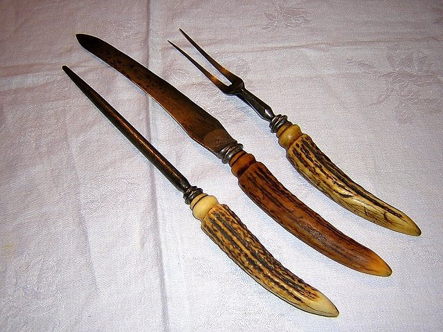 3 Piece carving set Stag horn Cross Daggers antique cutlery hc1164