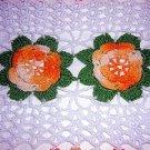 Large Irish crochet doily or centerpiece 4 roses center vintage hc1170