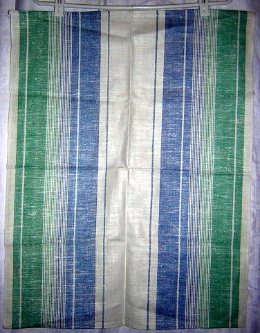 Blue and green striped linen towel unused hc1180