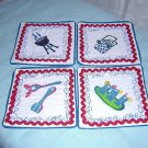4 Summer drink coasters or small mats handmade clever hc1186