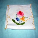 Appliqued linen toast cover or bread basket liner handworked mint vintage linens hc1187