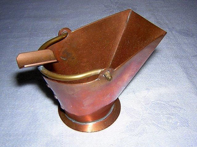 Vintage copper ashtray coal bucket or ashcan 1950s hc1190