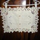 Battenburg lace handmade table or place mat centerpiece threadwork ecru vintage hc1211
