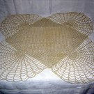 Filet stitch and chain crocheted table centerpiece doily vintage Art Deco hc1219